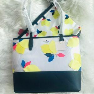 NEW Kate Spade ♠️ Lemon Zest Triple Zip Tote Bag